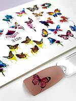 Водный Слайдер дизайн фото дизайн для ногтей с яркой печатью на светлый фон плоский бабочки