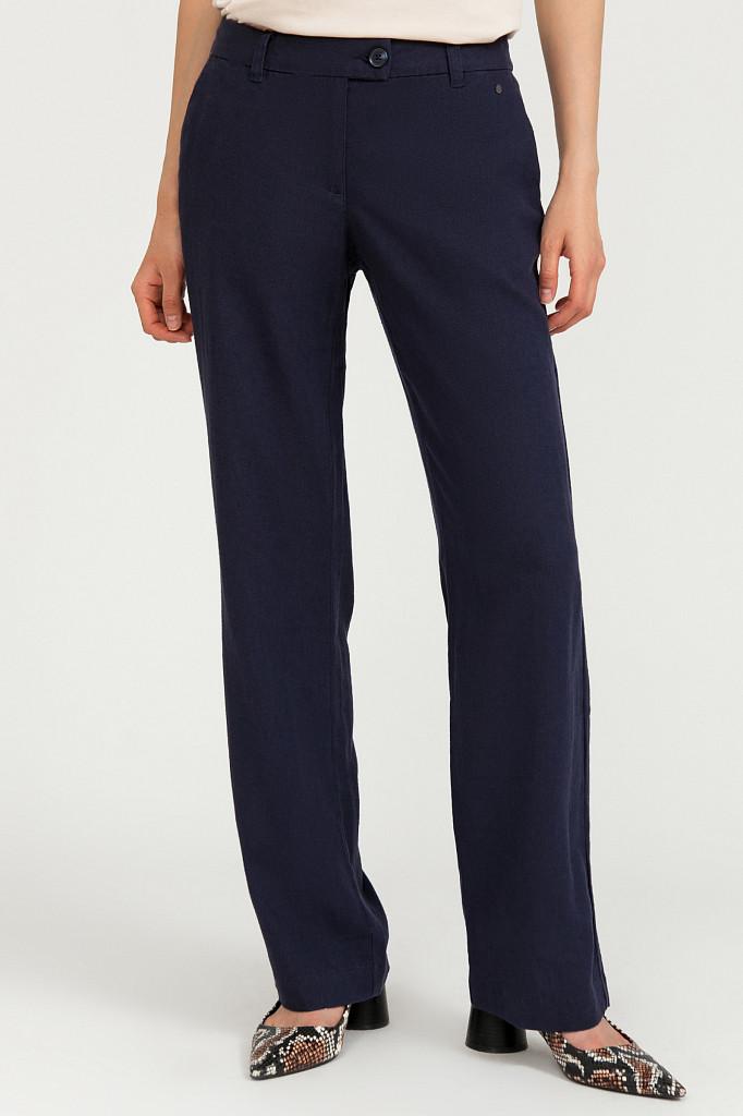 Женские летние брюки прямого кроя Finn Flare S20-12026-101 темно-синие