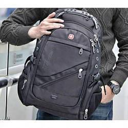 Рюкзак SwissGear 8810 39 літрів +USB +Дощовик Чорний Міської Портфель Дорожній Похідний для Ноутбука АКЦІЯ!