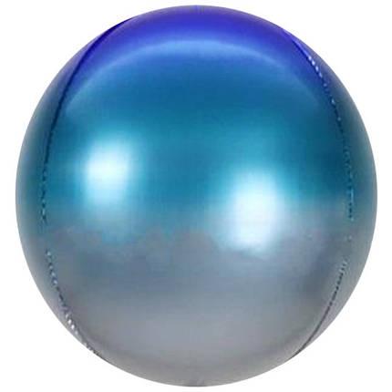 "Сфера 22"" КИТАЙ-КТ Градиент серебро, бирюза и синий, фото 2"