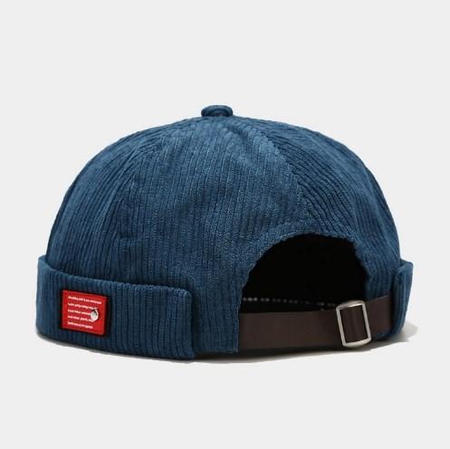 Кепка докер / бейсболка без козирка / Docker cap / чоловіча кепка без козирка / шапка біні велюрова синя