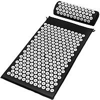 Акупунктурный массажный коврик для спиныс подушкой Acupressure Mat. Цвет:- Чёрный, фиолетовые, зелени