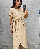 Класичне літнє плаття з запахом під пояс