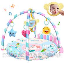Дитячий музичний килимок з ігровим центром і брязкальцями 0229Y (Синій)