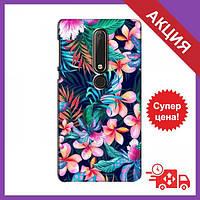 Бампер с принтом для Nokia 6 2018 / Бампер на Нокиа / Бампер для Nokia 6 2018 (Яркие Цветы)