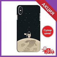 Чехол с принтом для iPhone Xs / Чехол с картинкой на Айфон Хс / Чехол для iPhone Xs (Космонавт на луне)