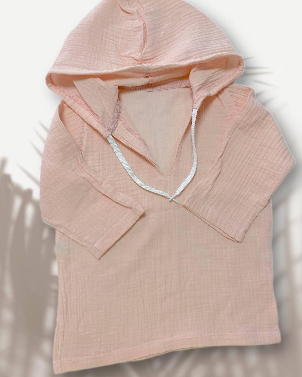 Дитяча муслінова туніка, пляжна, рожево-персикова, розмір 74 (є всі розміри)