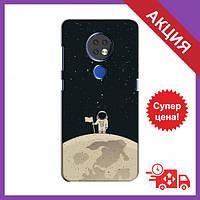 Чехлы с принтом на Nokia 7.2 / Чехлы с картинкой для Нокиа / Чехлы для Nokia 7.2 (Космонавт на луне)