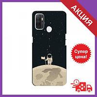 Бампер з принтом для OPPO A53 / Бампер на Оппо А53 / Бампер для OPPO A53 (Космонавт на місяці)