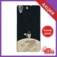 Чехлы с принтом на Huawei Y6II / Чехлы с картинкой для Хуавей у6 2 / Чехлы для Huawei Y6II (Космонавт на луне)