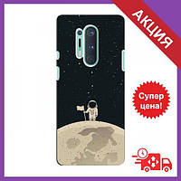 Бампер с принтом для OnePlus 8 Pro / Бампер на Ван плюс 8 Про / Бампер для OnePlus 8 Pro (Космонавт на луне)