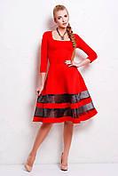 Нарядное красное платье ниже колена Юлиана, фото 1