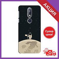 Чохли з принтом на Nokia 7.1 / Чохли з картинкою для Нокіа / Чохли для Nokia 7.1 (Космонавт на місяці)