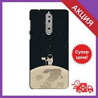 Бампер з принтом для Nokia 8 / Бампер на Нокіа / Бампер для Nokia 8 (Космонавт на місяці)