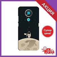 Бампер с принтом для Nokia 3.4 / Бампер на Нокиа / Бампер для Nokia 3.4 (Космонавт на луне)