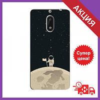 Бампер з принтом для Nokia 6 / Бампер на Нокіа Нокіа 6 / Бампер для Nokia 6 (Космонавт на місяці)
