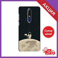 Бампер с принтом для Nokia 5.1 Plus (X5) / Бампер на Нокиа / Бампер для Nokia 5.1 Plus (X5) (Космонавт на