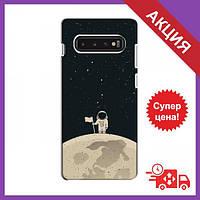Чехол для Samsung S10 / Бампер на Samsung S10 / Чехол для Самсунг Гелекси С10 (Космонавт на луне)