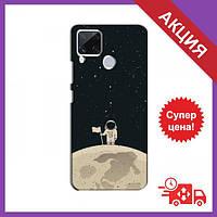 Бампер с принтом для RealMe C15 / Бампер на Реалми С15 / Бампер для RealMe C15 (Космонавт на луне)