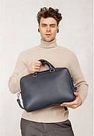Сумка чоловіча середня шкіряна планшет синя Giorgio Armani 7911-2