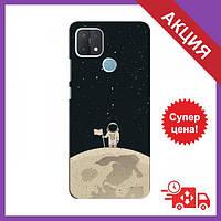 Чохли з принтом на OPPO A15 / Чохли з картинкою для Оппо А15 / Чохли для OPPO A15 (Космонавт на місяці)