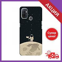 Чехлы с принтом на OPPO a32 / Чехлы с картинкой для Оппо А32 / Чехлы для OPPO a32 (Космонавт на луне)