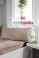 """Туреччина, ОРИГІНАЛ!!! Сатинова простирадло на гумці """"Пудра"""" 160х200+30 см, наволочки 50х70 див (2 шт)"""