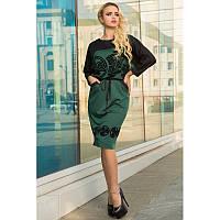 Комбинированное женское платье приталенного фасона Гермес 46-50 размер разные цвета