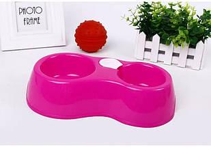 Кормушка поилка автоматическая для собак и для котов (розовый)