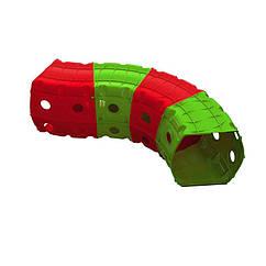 """Игровой тоннель DOLONI-TOYS """"Тоннель 4 секции"""" 01471 (Зеленый с красным)"""