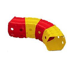 """Игровой тоннель DOLONI-TOYS """"Тоннель 4 секции"""" 01471 (Оранжевый с красным)"""