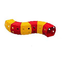 """Ігровий тунель DOLONI-TOYS """"Тунель 6 секцій"""" 01472 (Оранжевий з червоним)"""