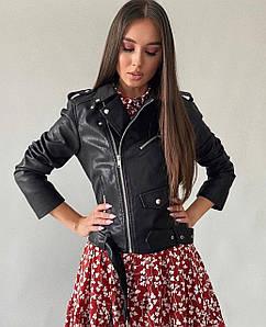 Жіноча класична куртка - косуха. Фабричний Китай. Розмір: S, M, L. Тканина: екошкіра. Колір: чорний.