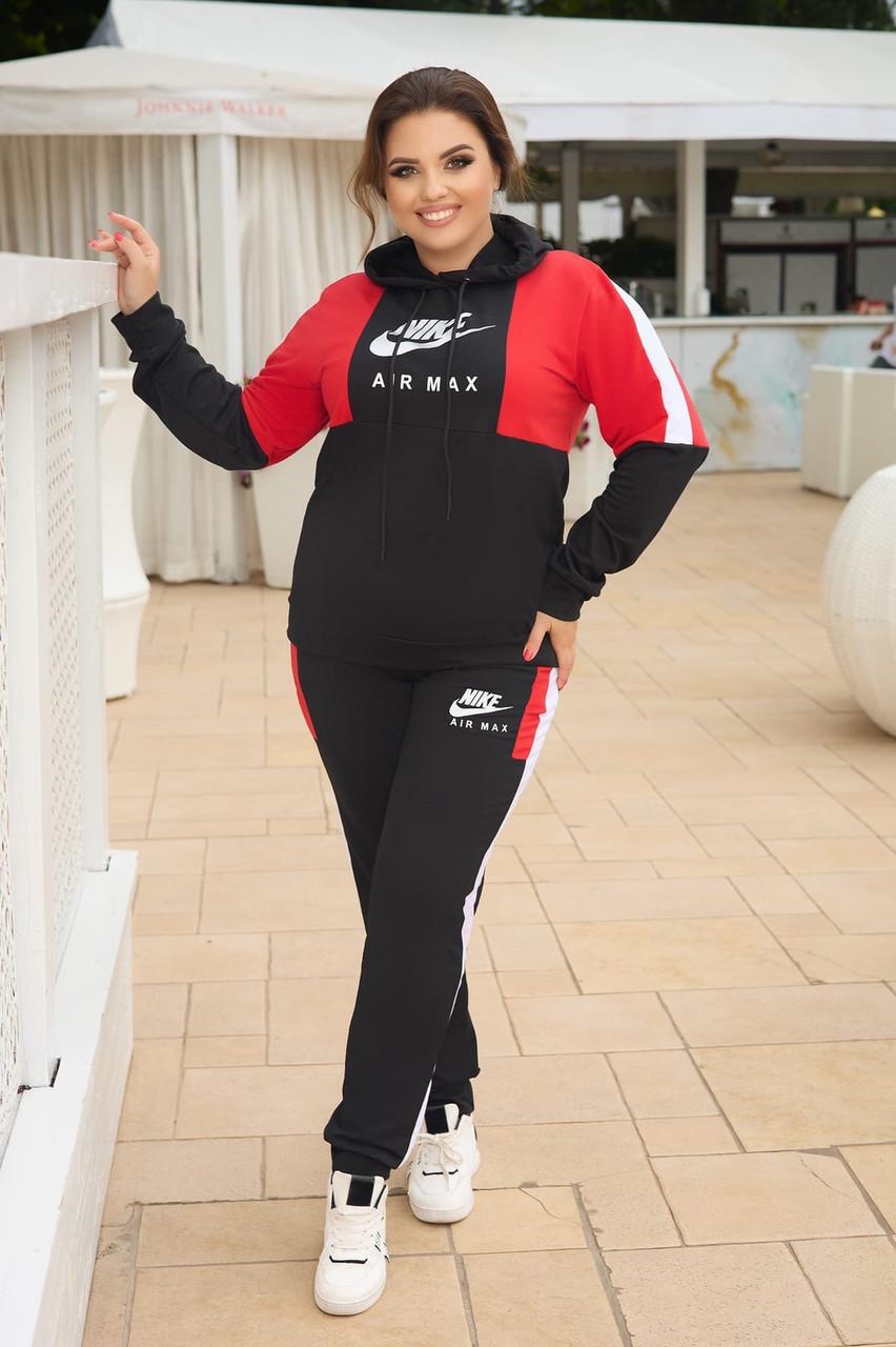 Жіночий прогулянковий спортивний костюм: кофта з капюшоном і штани з манжетами, батал великі розміри