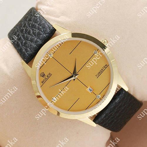 Модные наручные часы Rolex Slim Gold/Gold 2002