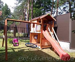 """Дитячий майданчик з дерева з гойдалкою """"гніздо лелеки"""""""
