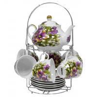 Набор чайный: 6 чашек 220 мл + 6 блюдец + заварник 750 мл Фиолетовые цветы Оселя