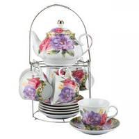 Набор чайный: 6 чашек 220 мл + 6 блюдец + заварник 750 мл Розы Оселя