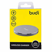 """Беспроводная зарядка """"budi"""" M8JG3A3100 5V / 2000mA metal + кабель Micro USB, металического цвета"""