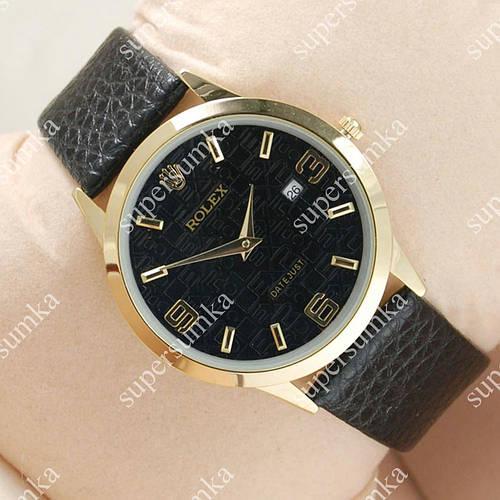 Элегантные наручные часы Rolex Slim Gold/Black 2003