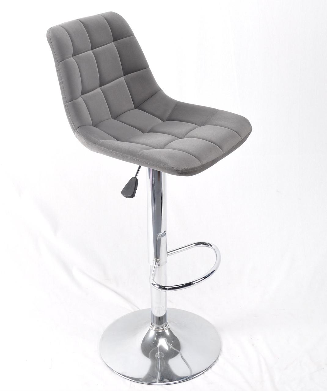 Крісло перукаря, крісло в салон з підніжкою для клієнта в сірому оксамиті Robin Bar CH - Base