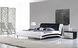 Кожаная двуспальная кровать Sonata Mobel B208 Бело-черная ZZ, КОД: 1564104