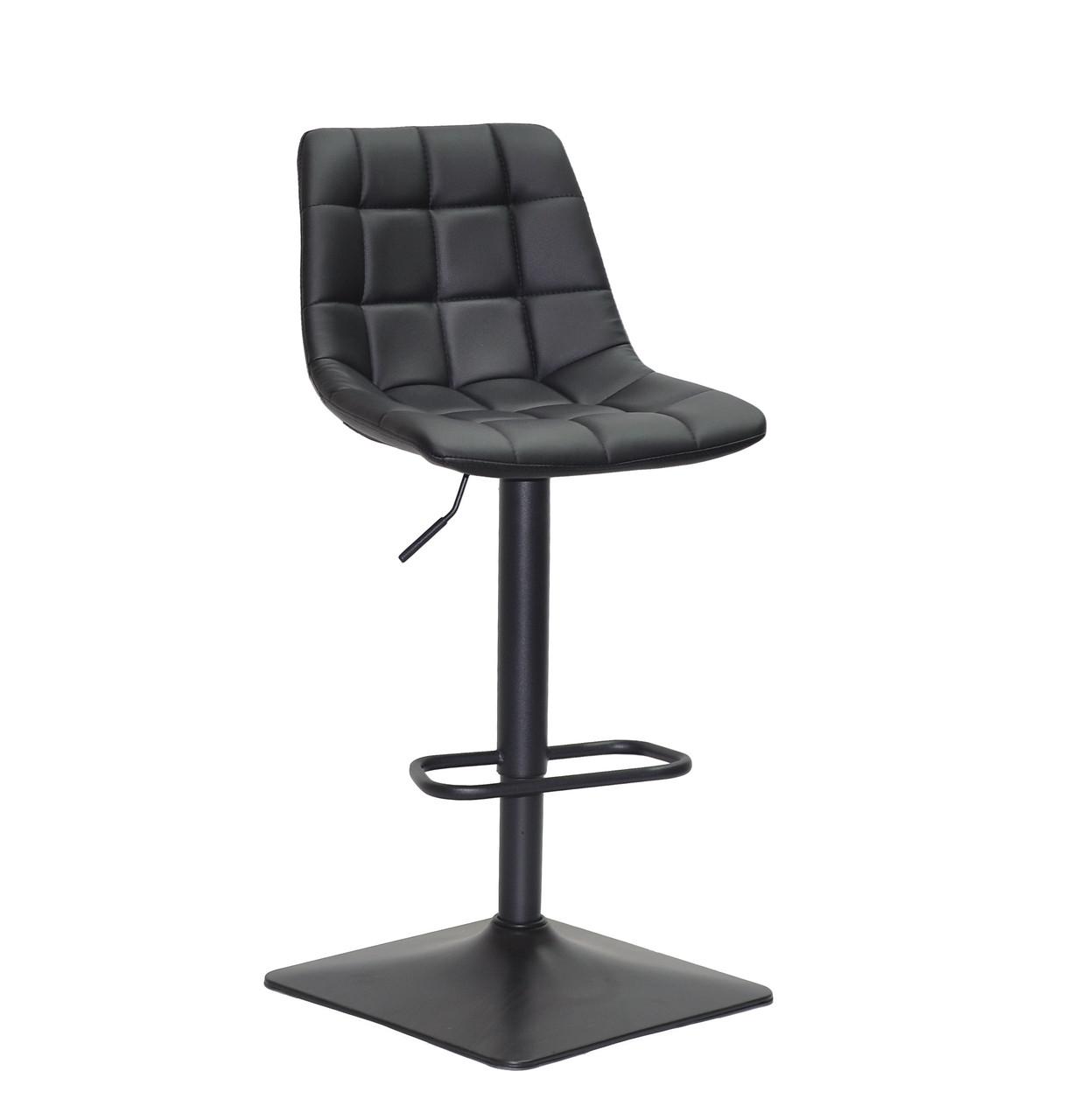 Крісло перукаря на чорній квадратній основі, чорна еко-шкіра Robin 4Bar BK - Base