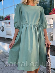 Платье с коттона оливкового цвета