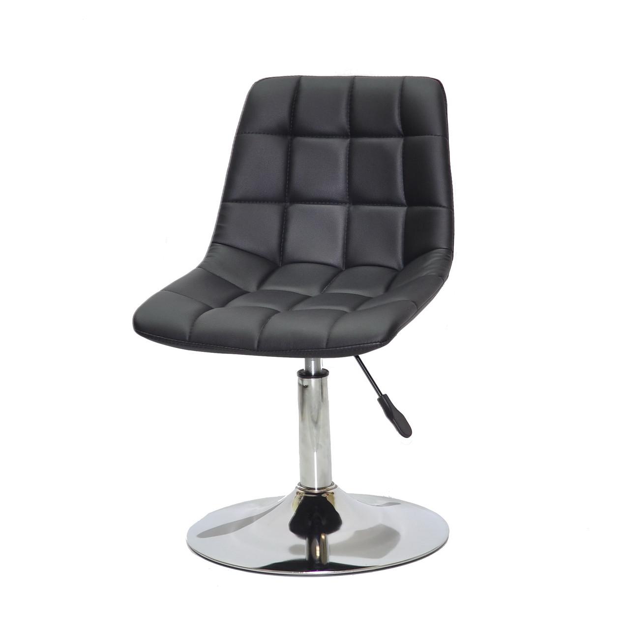 Комфортное кресло с регулировкой высоты, кресло на блине черная эко-кожа Robin CH-Base