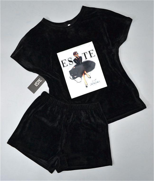 Комплект пижама Este Футболка и шорты с рисунком микро-велюр.