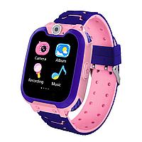 Детские смарт-часы G2 с сенсорным экраном камерой GPS+SIM фиолетово-розовые