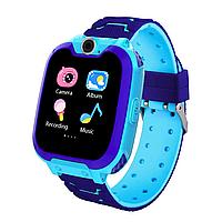 Детские смарт-часы G2 с сенсорным экраном камерой GPS+SIM фиолетово-голубые
