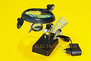 Тримач з LED підсвічуванням, підставкою під паяльник і лупою (третя рука) MG16129-C