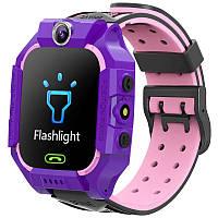 Детские смарт-часы W39 с поддержкой Sim-карты,камерой и GPS фиолетово-розовые